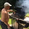 Here's Dad cooking his burgers!